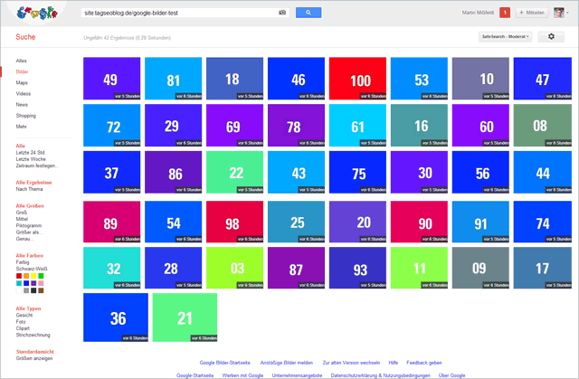Google Bilder Experiment nach sechs Stunden