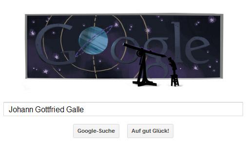 Johann Gottfried Galle Google Doodle - Kleiner Mann vor großem Planeten