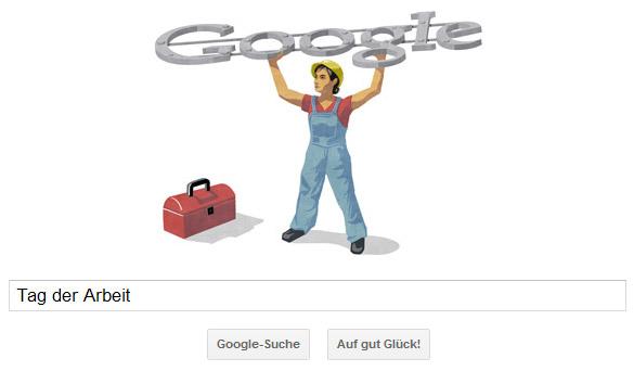 Tag der Arbeit 2012: Google Doodle - Starke Frau stemmt Google Logo