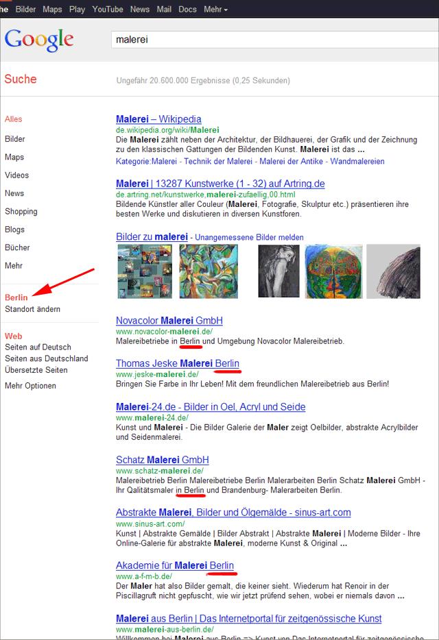 Google Venice-Update: nun viel mehr lokale Treffer vorne