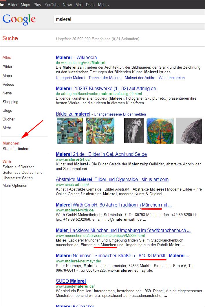 """Google Venice-Update: Ergebnisse der """"Malerei"""" Suche mit Standort München"""