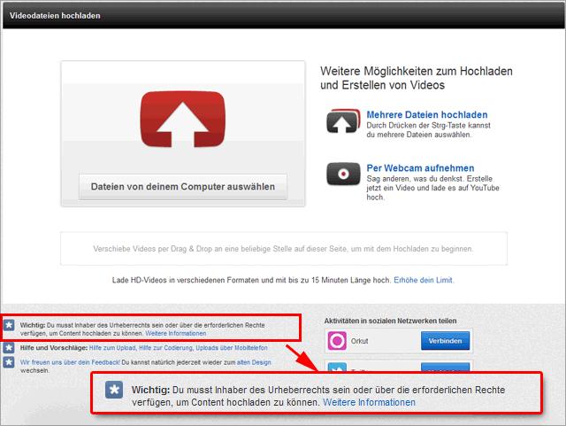 Hinweis zum Urheberrecht beim YouTube Video Upload