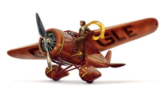 Amelia Earhart Google Doodle (mit ihrer Lockheed Vega)