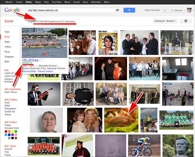 Google Bildersuche: Site-Abfrage von Vebidoo - 12. Mio Bilder!