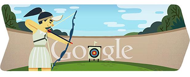 Bogenschießen in London 2012 (Google Doodle)