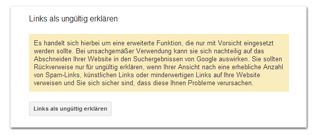 Google Disavow-Links-Tool 2: Sicherheitsabfrage!
