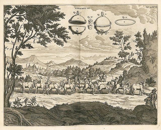 """Stich von Gaspar Schott: """"Die Magdeburger Halbkugeln"""" von Otto von Guericke"""