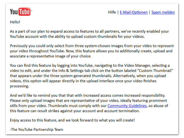 youtube-Partnerschaft (Email vom. 18.7.2012)