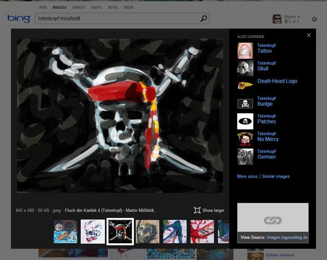Neue Bing Bildersuche: Urheberrecht #fail