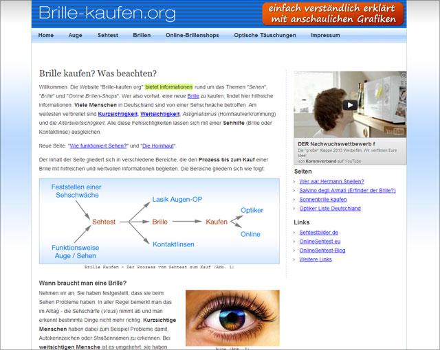 brillen-sehhilfen.de (Screenshot Homepage - Stand: 13.12.2012)