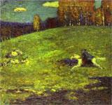 """""""Der blaue Reiter"""" Bild von Wassily Kandinsky (1903) Quelle: Wikipedia"""