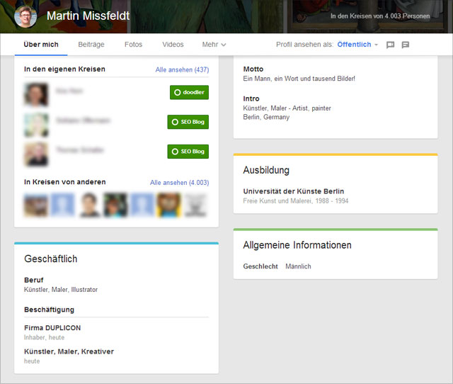 Neue Google+ Profilseite (Info)