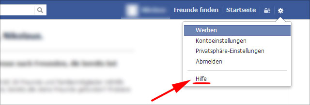 Facebook Account löschen - Erstmal Hilfe anklicken
