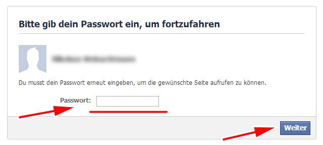Facebook Löschformular - Erneute Passwort-Eingabe