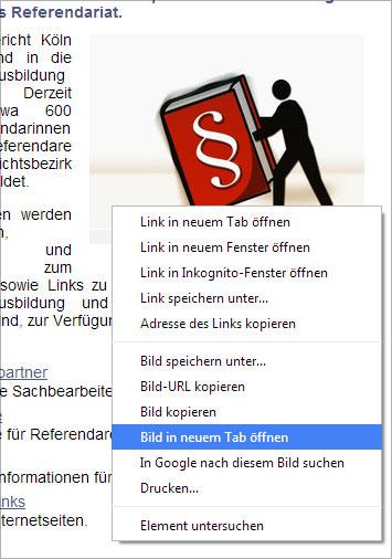 LG Köln, Pixelio Bild mit rechter Maustaste