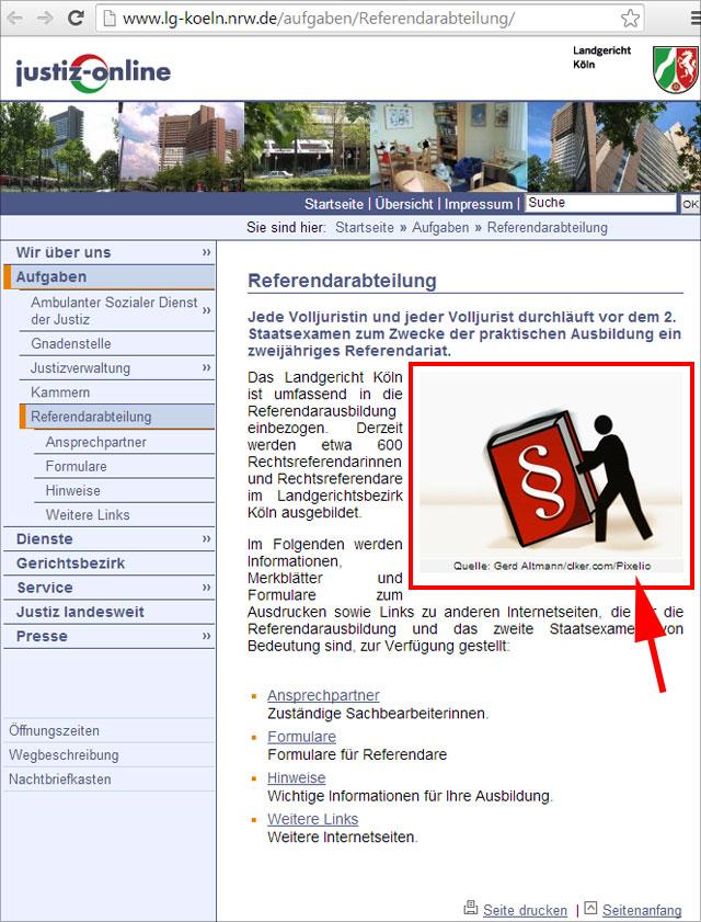 Pixelio Bild auf der Website des LG Köln