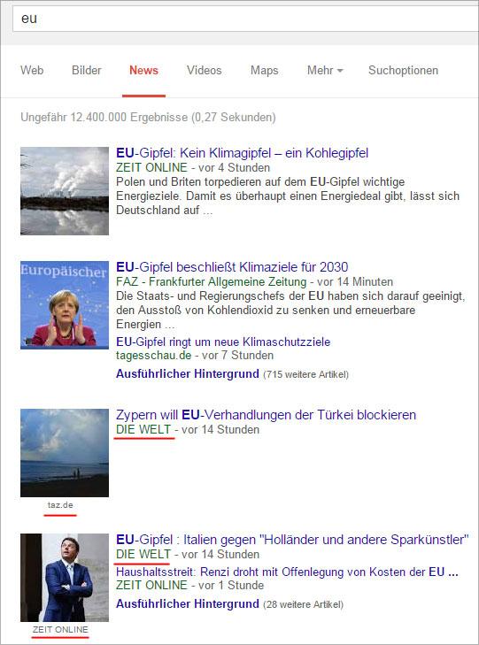 Google News Suche nach