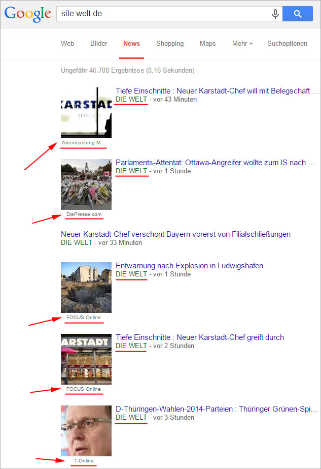 Google-News Site-Abfrage Welt.de