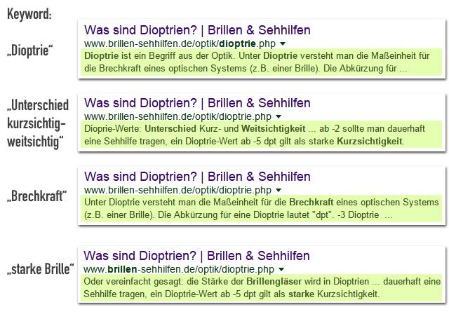 Verschiedene Textpassagen für die gleiche URL - Beispiel