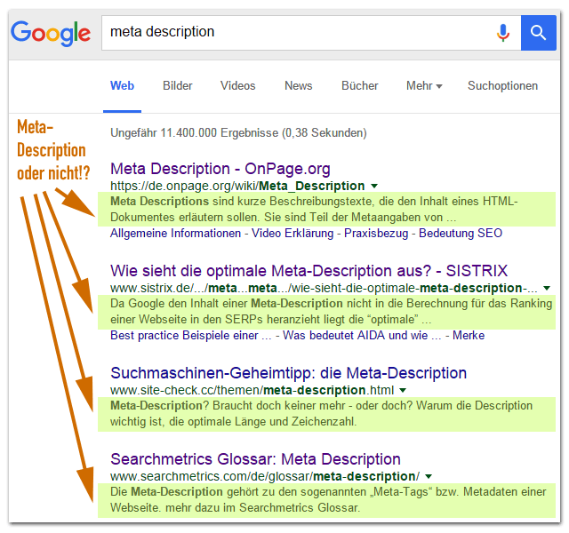 Meta-Decsription - Textpassage in den Google-Serps