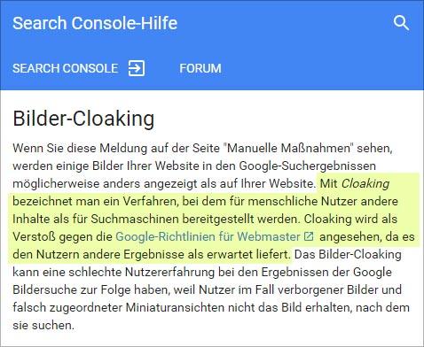 Bilder Cloaking (Webmaster Richtlinien der SearchConsole)