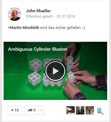 G+ Nachricht von John Müller über eine brandneue optische Illusion
