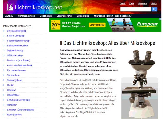 Website Lichtmikroskop.net (Stand Mai 2016)