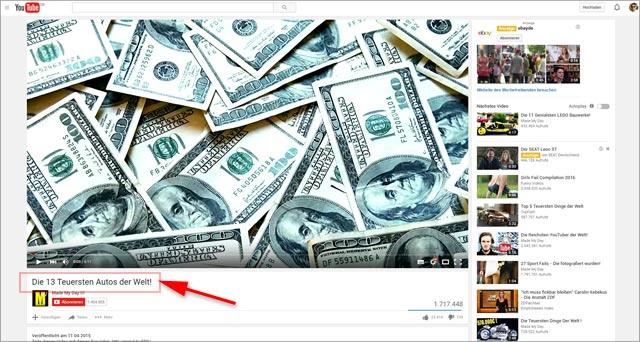 youtube-Landingpage: die teuersten Autos der Welt