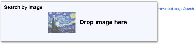 "Search by image: ""drop image here"""
