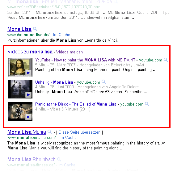 Universal-search: Video Onebox bei Mona Lisa