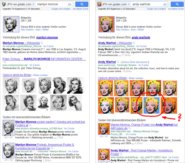 Google Bilder-mit-Bildern-Suche: Marilyn Monroe