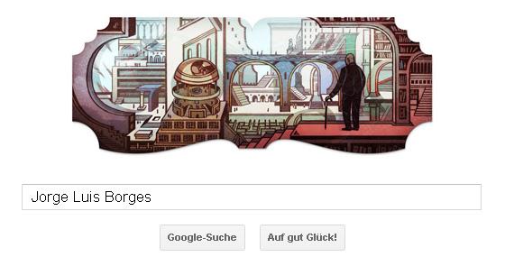 Google Doodle für Jorge Luis Borges - phantastische Architektur, unendliche Welten