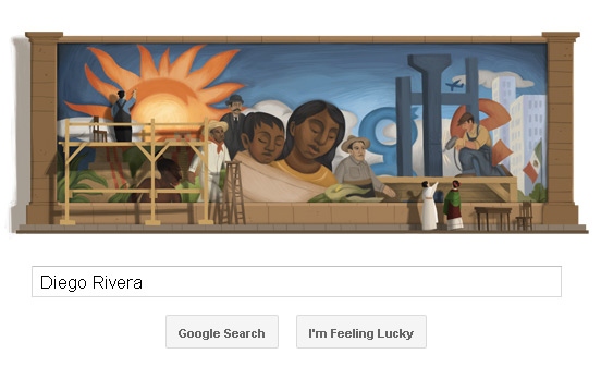 Diego Rivera Google Doodle - Mural (wall painting) with some persons