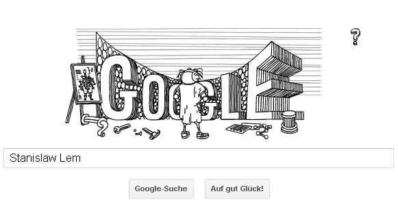 Stanislaw Lem Google Doodle - Startbild des interaktiven Animationsfilmes