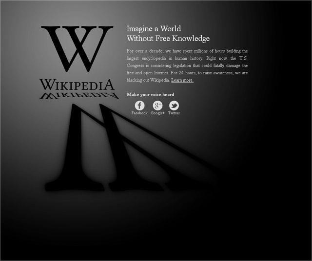 Wikipedia engl. Hompage - SOPA