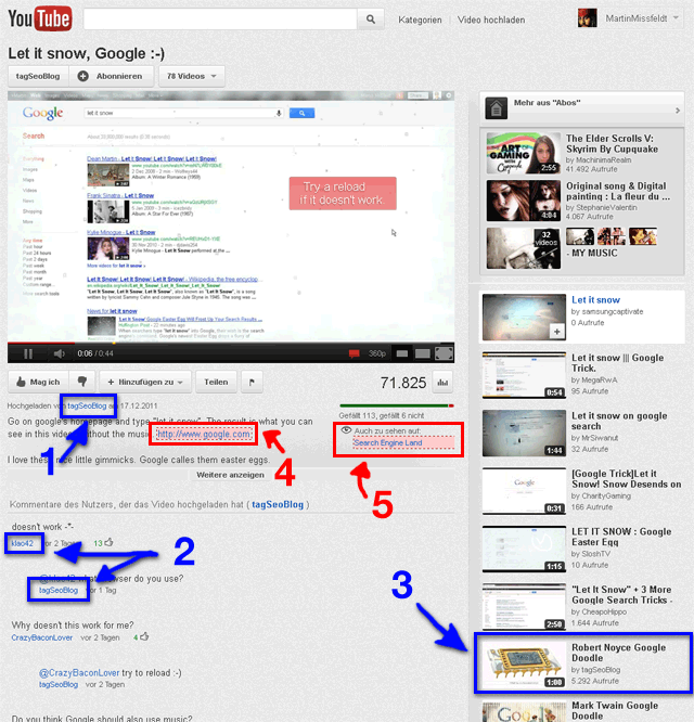 Youtube Videoseite - follow und nofollow Links