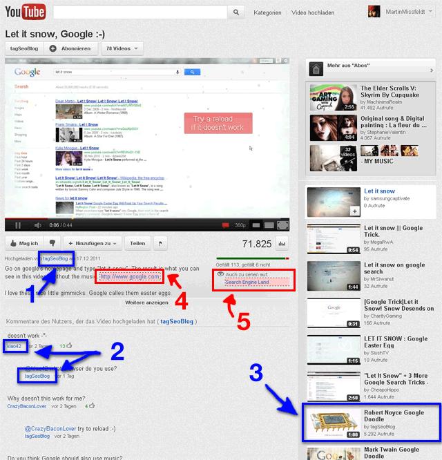 Youtube Videoseite - follow und nofollow Links