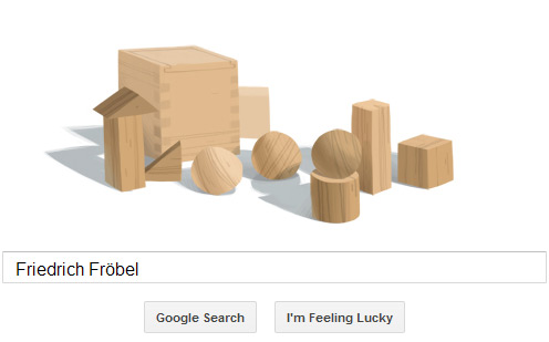 Friedrich Fröbel Google Doodle aus Holzspielzeugteilen