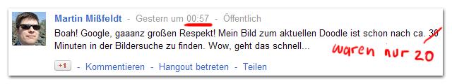 GooglePlus Meldung zur Indexierung neuer Bilder