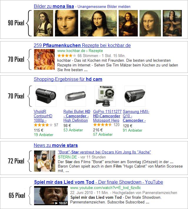 Google Universal-Search Bildergrößen