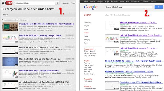Links: Google-Videosuche - Rechts: youTube-Suche