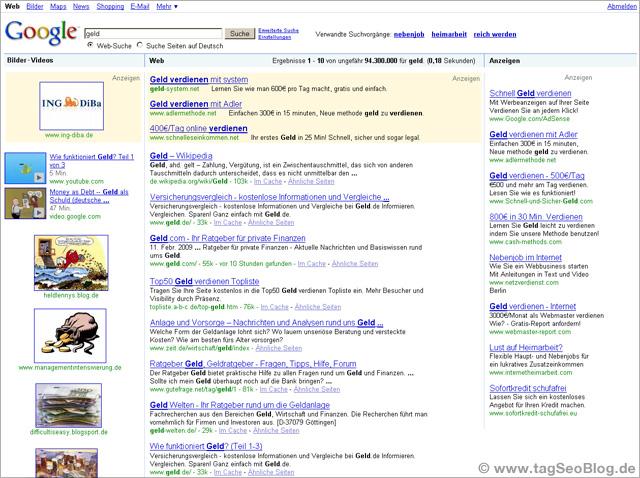 Universal Search - Eine google-Layout Vision