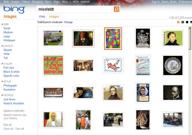 """Bing Bildersuche nach """"missfeldt"""""""