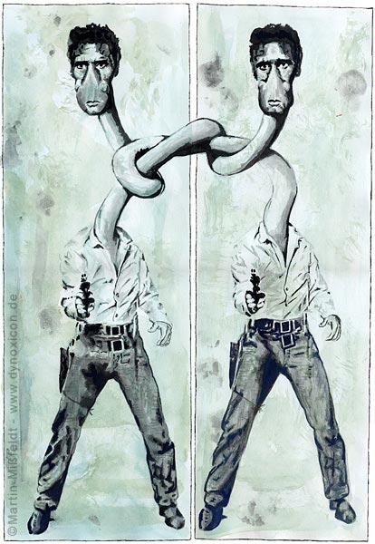 Elvis-Cartoon: wie besoffen doppelt sehen