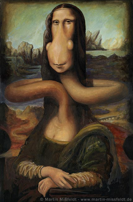 Funny cartoon Mona Lisa Giraffe