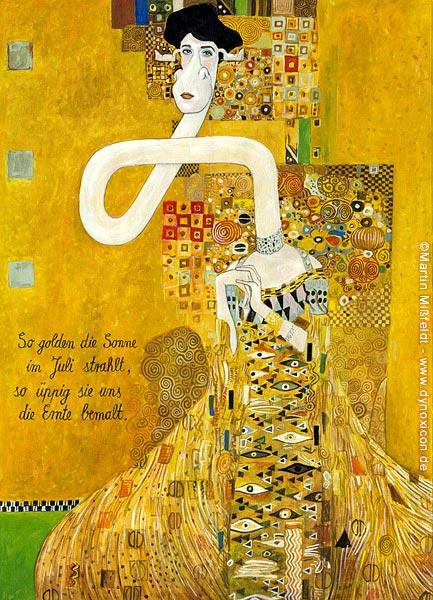 Gold-Cartoon: wertvolle Frau Bauer (nach Klimt)