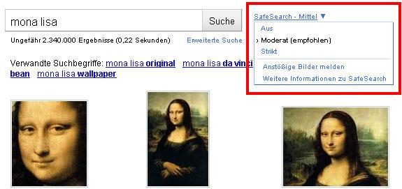 Google SafeSearch-Filter Option