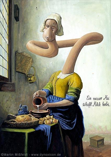 Kunst-Cartoon: mit Milch in der Küche