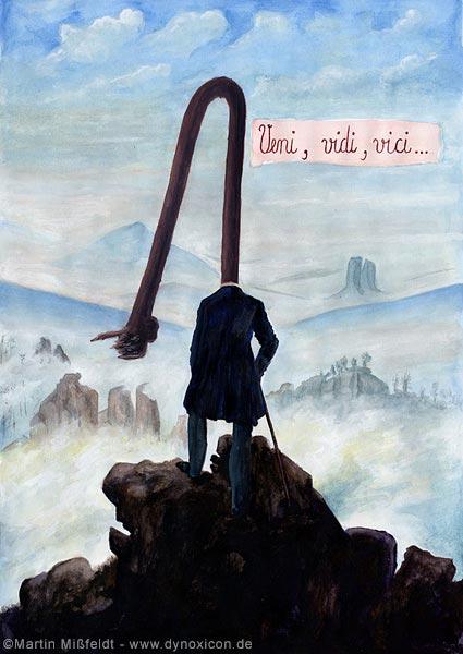 Natur-Cartoon: Wanderer im Gebirge