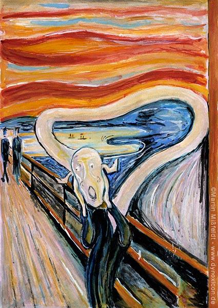 Schrei auf Brücke - Cartoon nach Munch